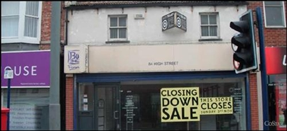 1,222 SF High Street Shop for Rent  |  84 High Street, Redcar, TS10 3DL