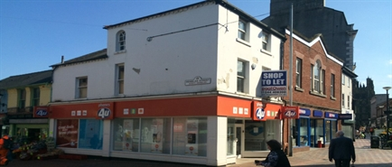 615 SF High Street Shop for Rent  |  21 Queen Street, Wrexham, LL11 1AL