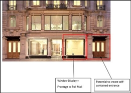 2,500 SF High Street Shop for Rent  |  50 Pall Mall, London, SW1Y 5JH